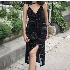 BCBGeneration XS midi striped dress with cutouts